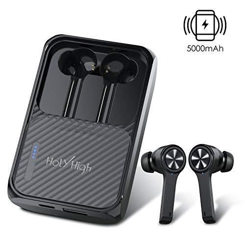 HolyHigh Auriculares Bluetooth Auriculares Inalambricos Bluetooth 5.0 con 5000mAh Estuche de Carga Inalámbrico Portáctil Batería Externa con Mic Cascos Bluetooth Impermeables IPX5 para iOS Android
