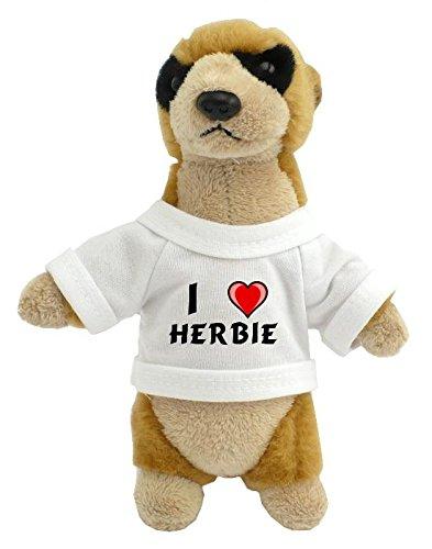 Suricata personalizada de peluche (juguete) con Amo Herbie en la camiseta (nombre de pila/apellido/apodo)