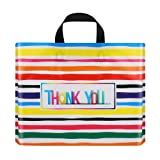 Ruisita 60 Pack Thank You Merchandise Bags Reusable Gift Bags Extra Thick Retail Goodie Bag Plastic Shopping Bag with Soft Loop Handles for Boutique, Clothing, Grocery (Multicolor, 12 x 15 Inches)