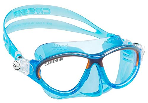 Cressi Moon Kids Swim Goggles, No Leaking Anti Fog UV Protection Dive Mask - Kids Ages 3-4-5-6-7 for Swimming and Diving - Made in Italy (Blue Orange)