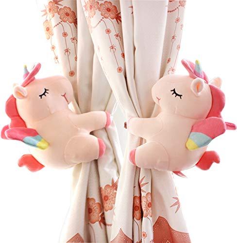SHDZKJ 1 Paar Einhorn Vorhang Raffhalter Cartoon Tier Vorhang Halter für Mädchen Kinder Kinderzimmer Schlafzimmer Fensterdekoration (rosa)