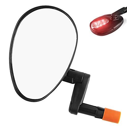 CXWXC 自転車 バックミラー LEDライト付き 凸面鏡 広角 360度回転可能 自転車ミラー サイクルミラー 折りたたみ可能 取り付け簡単 左右兼用 ブラック