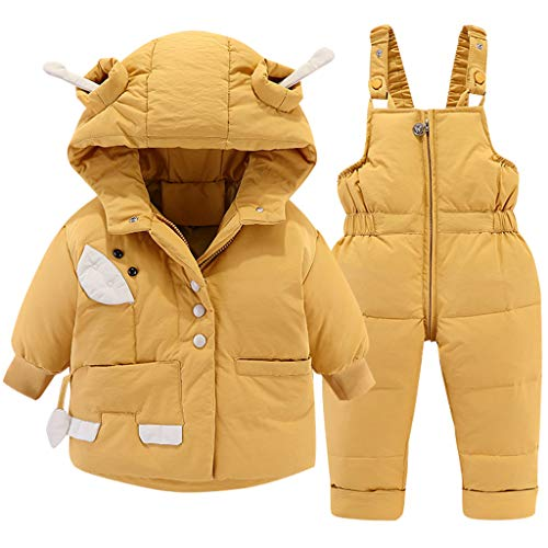 Winter Baby Schneeanzug Mit Kapuze Daunen Schneejacke + Skihose Daunenmantel 2 Stück Jungen Mädchen Kleidung Outfit Set Gelb 18-24 Monate