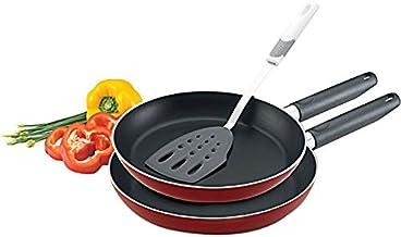 Prestige Aluminum Frying Pan with Spatula Set of 3-Piece, Red PR20982