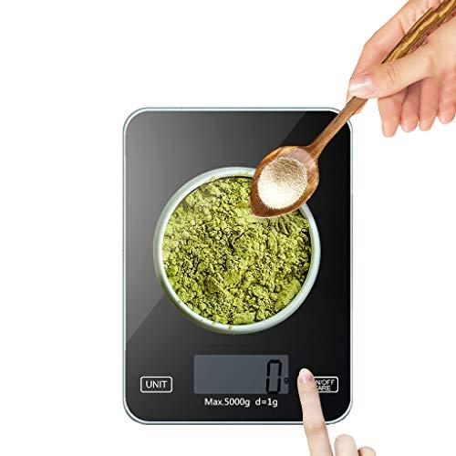 Intelligente keukenweegschaal, digitale weegschaal, 1 g, keukenweegschaal, keukenweegschaal met tar-functie, lcd-display, gehard glas, max. 5 kg nauwkeurigheid.