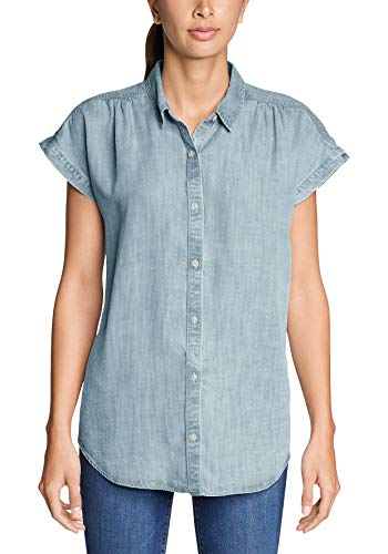 Eddie Bauer Tranquil Bluse - Kurzarm Camicia, Blu (Bleached 631), Small Donna