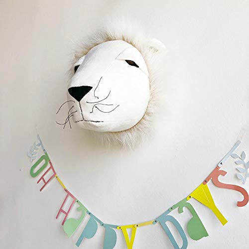 Jungle Safari Animals Head Wall Mount Decor Child Room Kindergarten Wall Decoration Wall Hanging Mount Stuffed Plush Toy Princess Doll Girl Baby Kid Gift Nursery Room Wall Decor