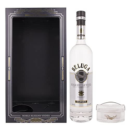 Beluga Noble Russian Vodka EXPORT Caviar Set 40% Volume 0,7l in Geschenkbox mit Kaviar Dose Wodka
