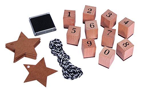 Rayher 68048000 Stempel Set Zahlen 0-9, inkl. Stempelkissen, Garn und Stern-Anhänger, 38-teilig