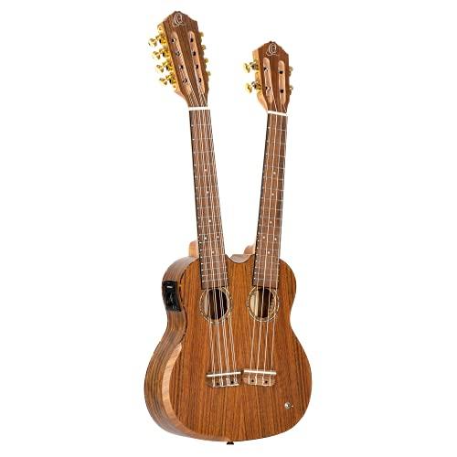 Ortega Guitars Custom Built Series Double Neck 4 & 8 String Tenor Acoustic-Electric Ukulele w/Bag, Right (HYDRA)