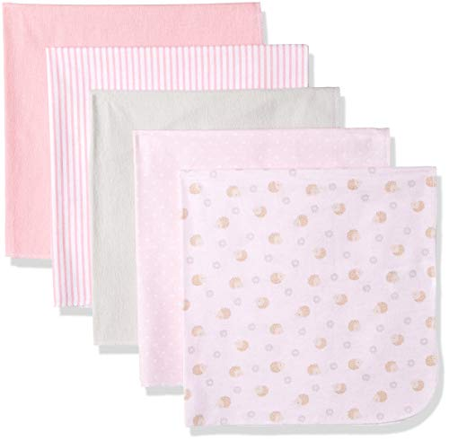 Rene Rofe Baby Baby Collection 5-Pack Flannel Blankets, Pink Stripes/dots/White, One Size