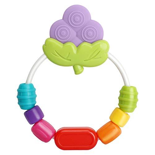 Zooawa Massaggia Gengive per Neonati, Morbido Giocattolo da Dentizione per Alleviare il Dolore, Portaciuccio Girevole senza BPA per Bambini, Massaggiagengive Gioco a Forma d'Uva - Multicolore