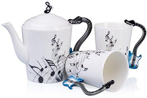 Grinscard Teeservice 3 Teile mit Motiv Henkel - Weiß Keramik E-Gitarre Design - Teekanne & Tee Tassen in Geschenk Box