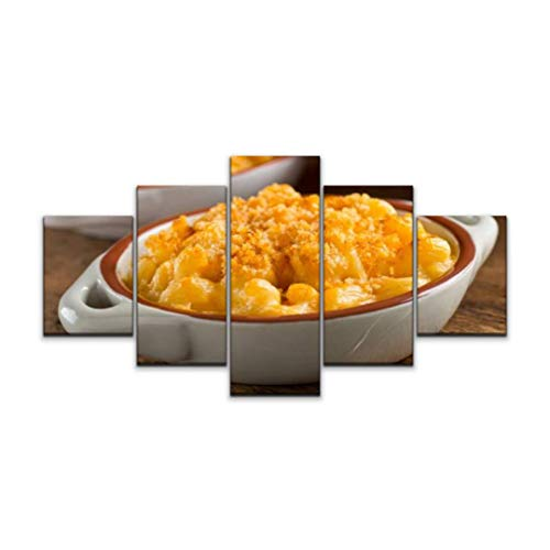 XEPPO 5 Panels Wall Art Print On Canvas mac and Cheese Noodles Stock Pictures Royalty Free Photos Images Modern Abstract Picture Poster for Home Decor Stretched and Framed Ready to Hang (60''Wx32''H)