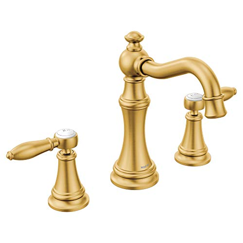 Moen TS42108BG Weymouth Two-Handle Lever Handle Bathroom Faucet Trim Kit, Valve Required, Brushed Gold