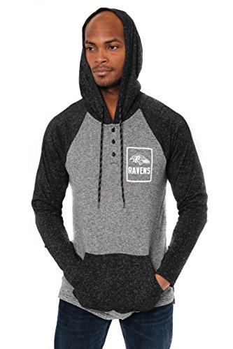 Ultra Game NFL Baltimore Ravens Mens Fleece Hoodie Pullover Sweatshirt Henley, Team Color, Small