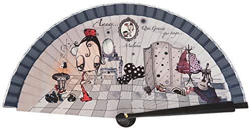 Abanico Original Malaka de Madera diseño Olé, complemento de Calidad, Caja de cartón Gratuita a Conjunto (23 cm)