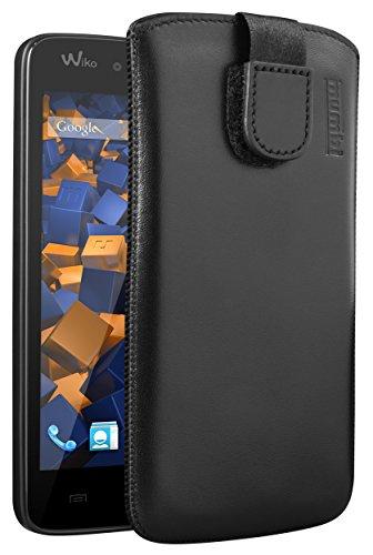 mumbi Echt Ledertasche kompatibel mit Wiko Birdy Hülle Leder Tasche Hülle Wallet, schwarz