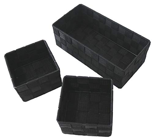 Clay Roberts Storage Baskets, 3 Pack, Black, Small Storage Baskets for Cupboards, Bathrooms and Shelves