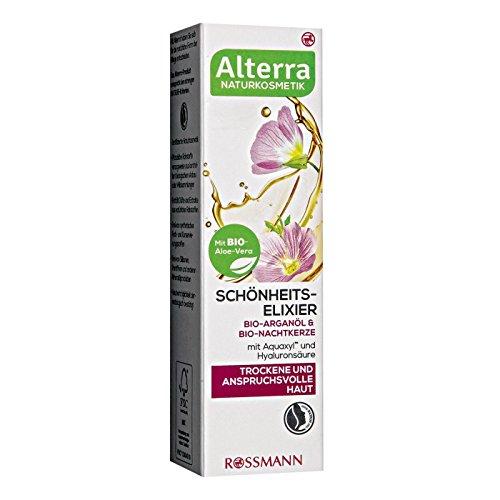 Alterra Schönheits-Elixier 25 ml für trockene & anspruchsvolle Haut, mit Bio-Aloe-Vera, Bio-Arganöl & Bio-Nachtkerze, mit Aquaxyl™ & Hyaluronsäure, zertifizierte Naturkosmetik, vegan