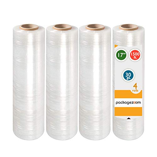 """PackageZoom Pre Stretched 17"""" x 1500 ft 4 Rolls Stretch Wrap Film Clear Cling Plastic for Moving and Packaging Stretch Wrap"""