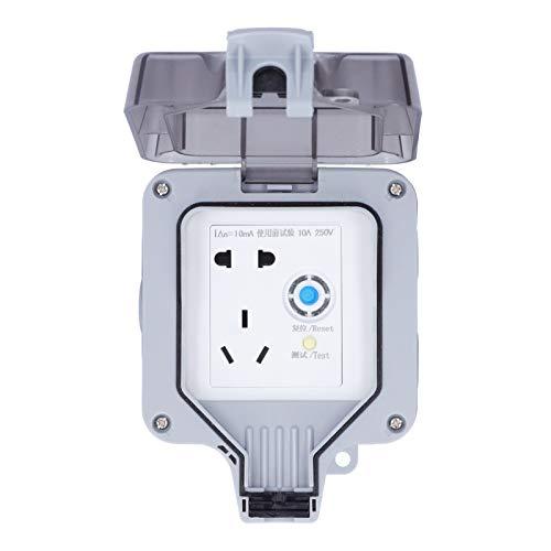 Tomacorriente de pared Kuuleyn de 250 V, toma de corriente impermeable de 5 agujeros con protección contra fugas eléctricas,diseño sin perforaciones, para estacionamientos,sitios de construcción,ho