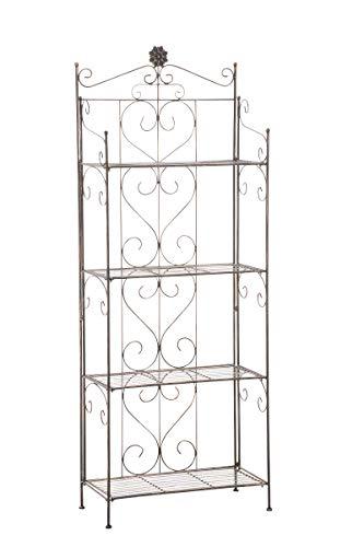 CLP LENJA stabiles Standregal im Landhausstil I Klappbares Eisenregal mit 4 Regalböden I erhältlich, Farbe:Bronze