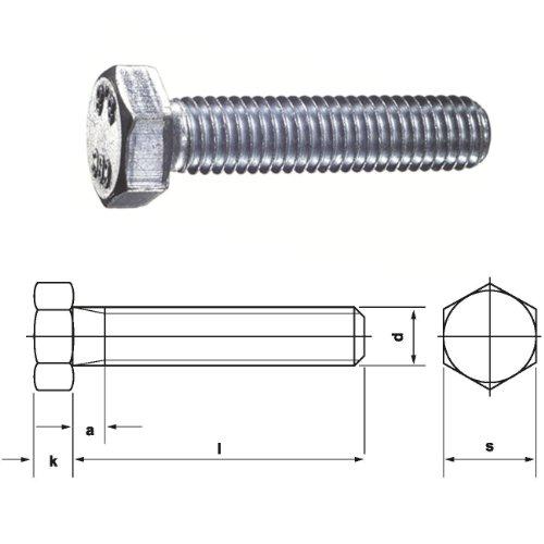 Dresselhaus 0/0222/001/6,0/16/ /01 Sechskantschrauben 8.8 mit Gewinde bis Kopf DIN EN ISO 4017 (ehem.DIN 933), M 6 x 16, galv. verzinkt, 500 Stück