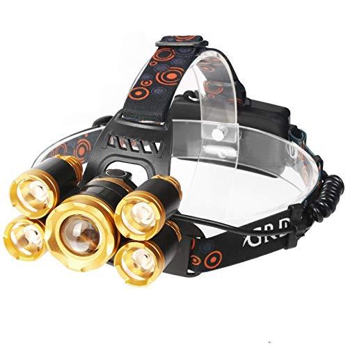 Winnes LED Stirnlampe, Super Bright LED Headlamp Einstellbare Scheinwerfer 5 CREE LED 8000 Lumen Wiederaufladbare Kopflampe wasserdichte Stirnlampe für Outdoor Wandern Camping Jagd Radfahren