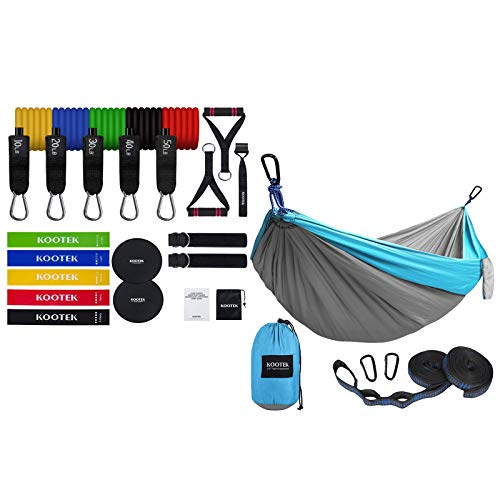 Kootek Double Camping Hammock Doublewith 2 Tree Straps and 18 Pack Resistance Bands Set