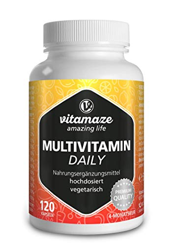 Multivitaminico Completo Capsule ad Alto Dosaggio, Vitamine A, B, C, D, E, K, 120 Capsule Vegetariano per 4 Mesi, senza Iodo, Integratore Alimentare senza Additivi non Necessari