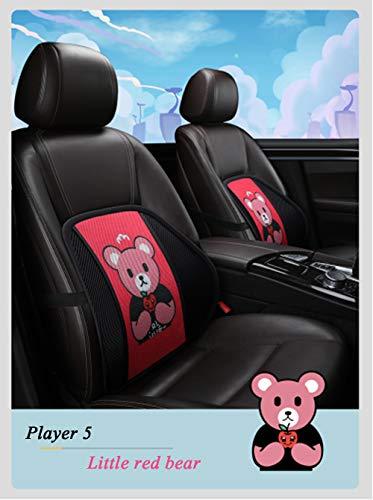 Lendensteun, Car Mesh Rugsteun met massagekralen Ergonomisch Ontworpen voor comfort en pijn in de onderrug - Lendensteunkussen voor autostoel, bureaustoel, rolstoel (kleine rode beer)