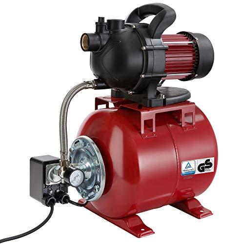 Arebos Hauswasserwerk / 1000 Watt/Fördermenge 3500 l/h/Förderhöhe 44 Meter / 19 l Tank/GS geprüft