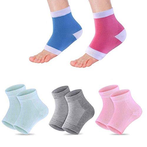 5 Paar Feuchtigkeitsspendende Socken,Gel-Fersensocken,offene Zehensocken,lindern Fersenschmerzen,bequem,weich,belüftet, feuchtigkeitsspendend,geeignet für Männer und Frauen,rissige High Heels