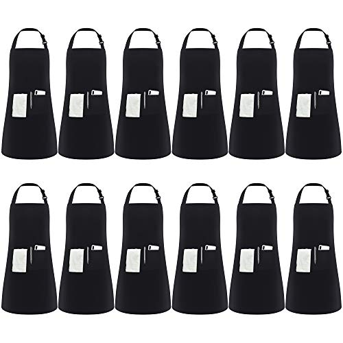 InnoGear 12 Pack Unisex Adjustable Bib Apron with 2 Pockets Cooking Kitchen Chef Women Men Aprons...