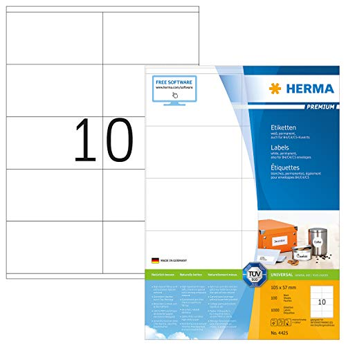 HERMA 4425 Universal Etiketten DIN A4 groß (105 x 57 mm, 100 Blatt, Papier, matt) selbstklebend, bedruckbar, permanent haftende Adressaufkleber, 1.000 Klebeetiketten, weiß