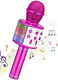 Wireless Karaoke Microphone, Ankuka Handheld Bluetooth Microphones Speaker Karaoke Machine with Dancing LED Lights, Home KTV Player Compatible with Android & iOS Devices for Party/Kids Singing, Purple