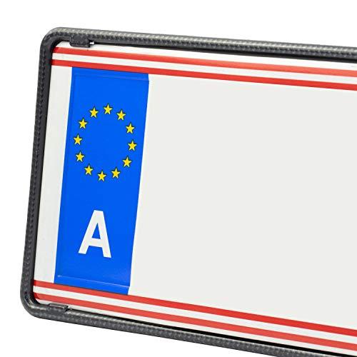 EUROSNAP Auto Kennzeichenhalter Carbon 2er Set Inklusive Montageanleitung - für Österreich - Dezenter KFZ Kennzeichenrahmen - PKW Nummernschildhalter
