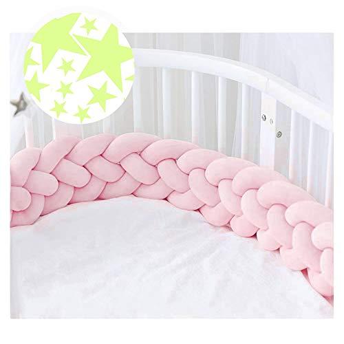 ACTENLY 220cm Baby 4 Weben Babybett Bettumrandung Nestchen Stoßstang Kantenschutz Kopfschutz für Kinderbett Bettumfang (Rosa + 50 Stück Leuchtende Sterne Wandtattoo)
