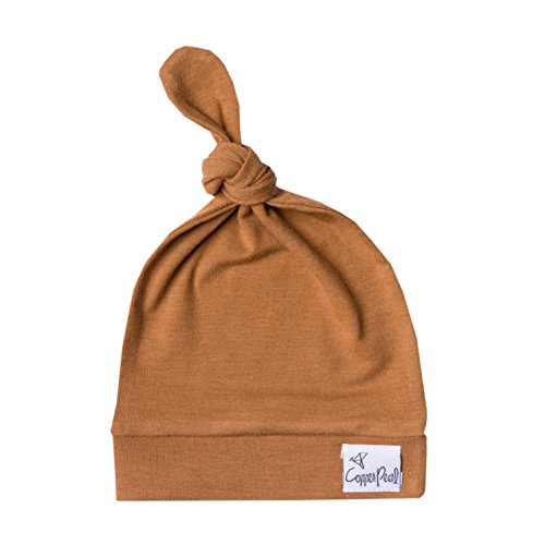 Copper Pearl Baby Beanie Hat Top Knot Stretchy Soft Camel