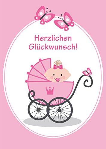 A 4 Glückwunschkarte Baby zur Geburt eines MÄDCHEN: Lustige XXL grosse Maxi-Karte (10736) im Retro-/Nostalgie-Stil von EDITION COLIBRI © - umweltfreundlich, da klimaneutral gedruckt