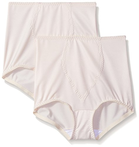 Hanes Shapewear Women's Light Control 2 Pack Tummy Control Brief, Beige/Beige, 4X