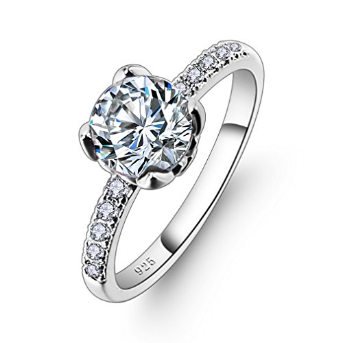 YAZILIND Promise Elegant Ring Pretty Cubic Zirconia Platinum Plated Rhinestone Wedding Engagement Gift for Women Size N