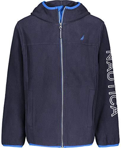 Nautica Boys' Little School Uniform Full-Zip Fleece Hooded Jacket, Navy, Large(6)