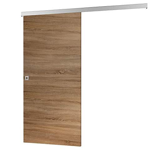inova Holz-Schiebetür 755 x 2035 mm Wildeiche Alu Komplettset mit Lauf-Schiene und Quadratgriff