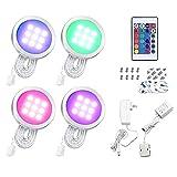 Luces para Gabinetes LED 4PCS RGB Kit de Luz del Gabinete Delgado Forma Redonda Color-Cambiante...