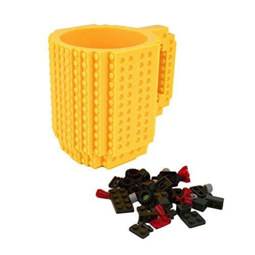 DOITOOL Tasse Tasse Aufbau Ziegel Becher DIY Montage Puzzle Tasse Bausteine Kaffeetasse Tasse DIY Block Puzzle Becher Trinkbecher (Gelb)