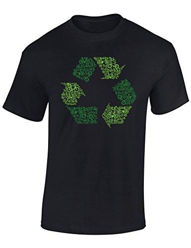 T-Shirt: Recycling ? Re-Cycling ! - Fahrrad Geschenke für Damen & Herren - Radfahrer - Mountain-Bike - MTB - BMX - Fixie - Rennrad - Tour - Sport - Urban - Motiv - Spruch - Fun - Lustig (S)