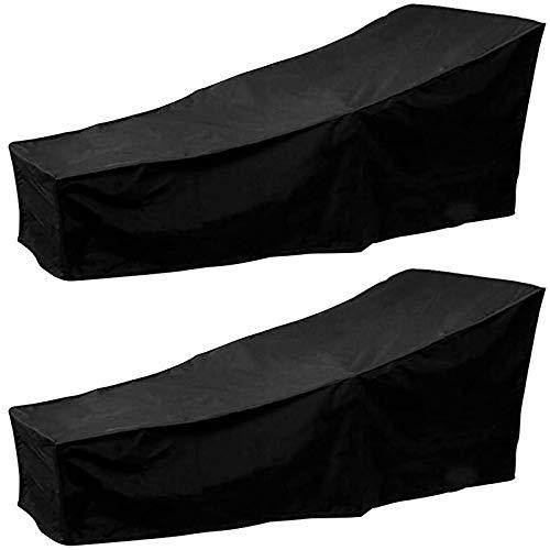 Basage - Funda para tumbona larga, 2 piezas, funda de cama de bronceado de exterior, funda de silla larga, funda para muebles, color negro