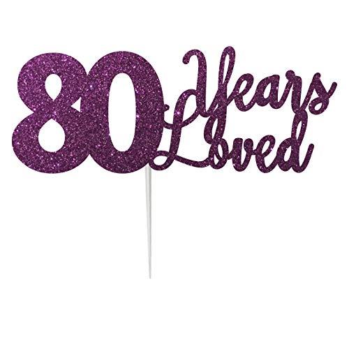 LissieLou Décoration de gâteau 80 Ans Loved Carte d'anniversaire à Paillettes fabriquée au Royaume-Uni